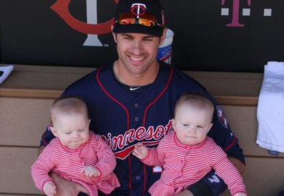 """. <p><b> Joe Mauer�s twin daughters, Emily and Maren, were a big hit Thursday at Target Field, earning an ovation when they � </b> <p> A. Appeared on the field for the first time in their lives <p> B. Posed for photos in the dugout <p> C. Took turns striking out Pedro Florimon <p><b><a href=\'http://www.twincities.com/sports/ci_25538350/twins-win-joe-mauers-girls-make-target-field\' target=\""""_blank\"""">HUH?</a></b> <p>   (Photo from Twitter)"""