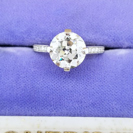 2.83ct Old European Cut Diamond in CvB Solitaire - GIA K, VS1