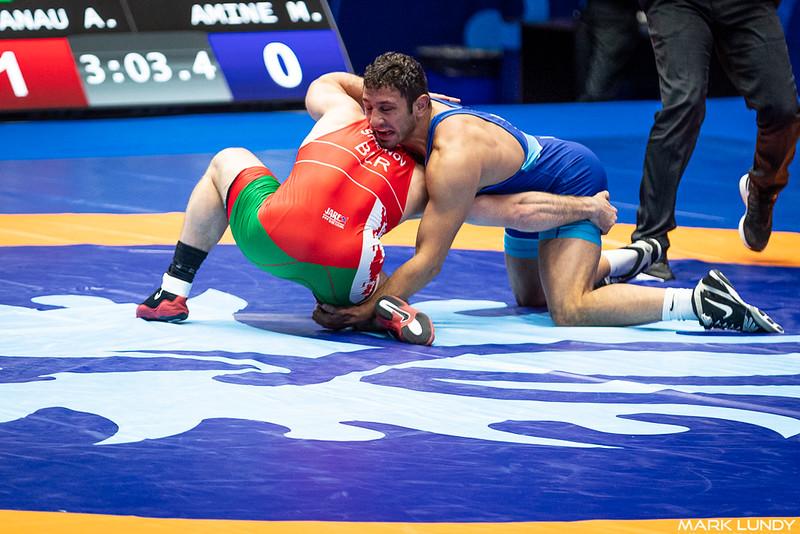 Champ. Round 1: Myles Nazem Amine (SAN MARINO) over Ali Shabanau (Belarus)  •  Dec 5-1 - 2019 World Championships