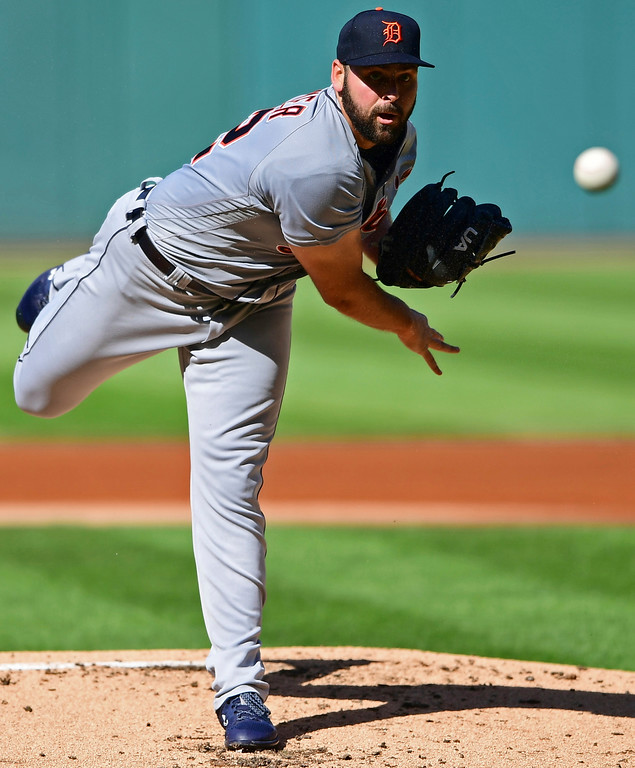. Detroit Tigers starting pitcher Michael Fulmer delivers in the first inning of a baseball game against the Cleveland Indians, Saturday, Sept. 15, 2018, in Cleveland. (AP Photo/David Dermer)