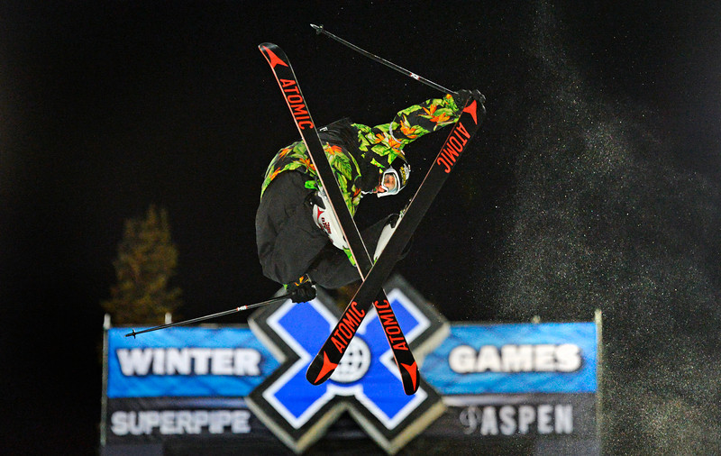 . Mike Riddle catches big air during the Men\'s Ski Super Pipe Elimination at the Winter X Games in Aspen, January, 22 2014. The finals for the  Men\'s Ski Super Pipe will be held Friday night at Buttermilk Mountain. (Photo by RJ Sangosti/The Denver Post)