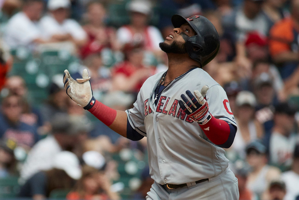 . Cleveland Indians Carlos Santana celebrates after hitting a two-run home run in the seventh inning against the Detroit Tigers in the first baseball game of a doubleheader in Detroit, Saturday, July 1, 2017. (AP Photo/Rick Osentoski)