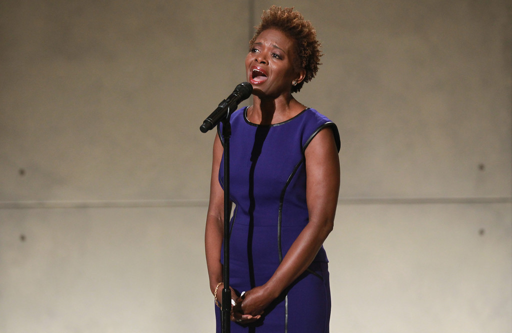 . LaChanze sings Amazing Grace during the dedication ceremony at the National September 11 Memorial Museum May 15, 2014 in New York City. Her husband Calvin Gooding was working for Cantor Fitzgerald and was killed on 9/11 while working at the World Trade Center. (John Munson-Pool/Getty Images)