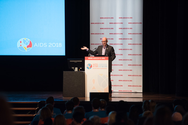 22nd International AIDS Conference (AIDS 2018) Amsterdam, Netherlands   Copyright: Marcus Rose/IAS  Photo shows: Volunteers training and orientation. Speaker: Owen Ryan (IAS).