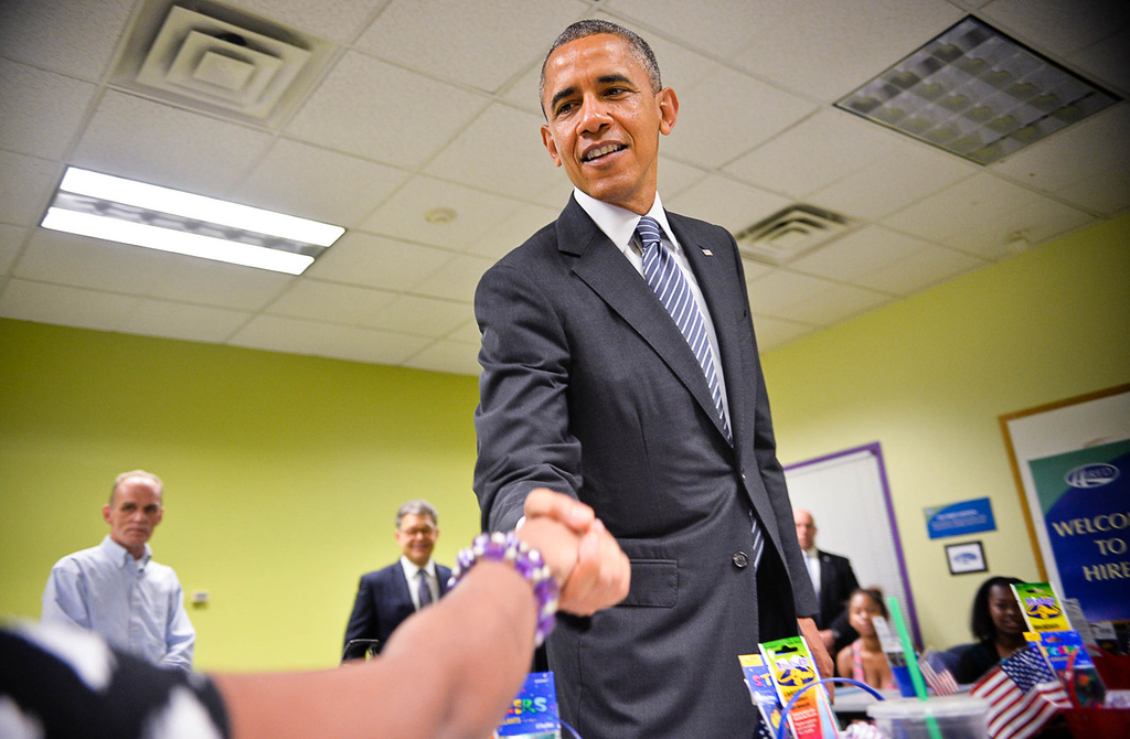 . President Barack Obama visits a Workforce Center and speaks with students in North Minneapolis. The students are participating in a Project CARE class, which provides young mothers training in customer service and sales occupations for four weeks, followed by paid internships. (Pioneer Press: Ben Garvin)
