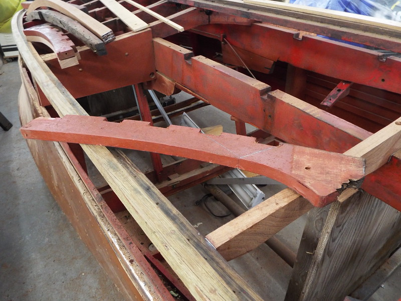 View of the bottom end of a side frame that is being replaced.