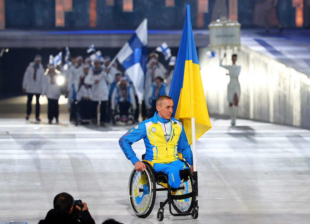 . Flag bearer Mykhailo Tkachenko of Ukraine attends the Opening Ceremony of the Sochi 2014 Winter Paralympic Games at Fisht Olympic Stadium in Sochi, Russia, 07 March 2014.  EPA/SERGEI CHIRIKOV