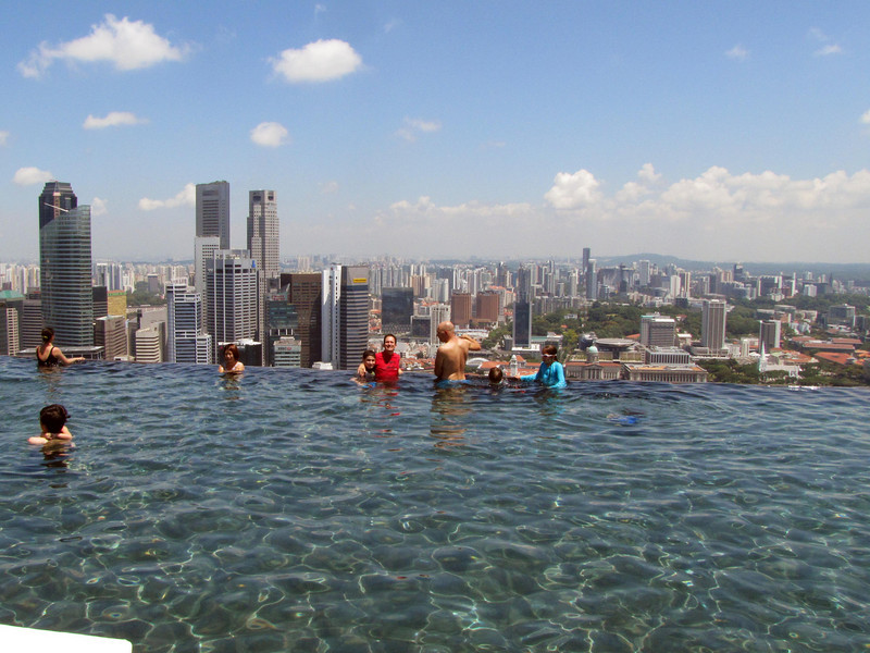 Skyline over pool
