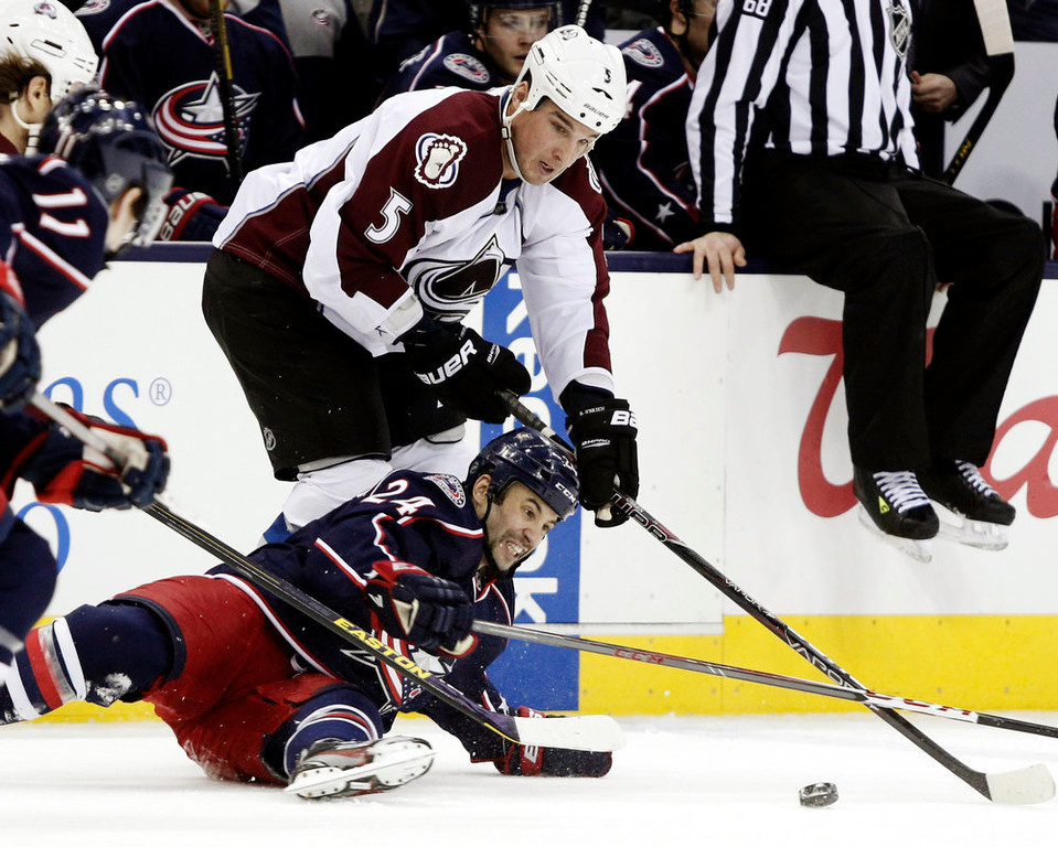. Columbus Blue Jackets\' Derek MacKenzie, bottom, works for the puck against Colorado Avalanche\'s Shane O\'Brien in the first period of an NHL hockey game in Columbus, Ohio, Sunday, March 3, 2013. (AP Photo/Paul Vernon)