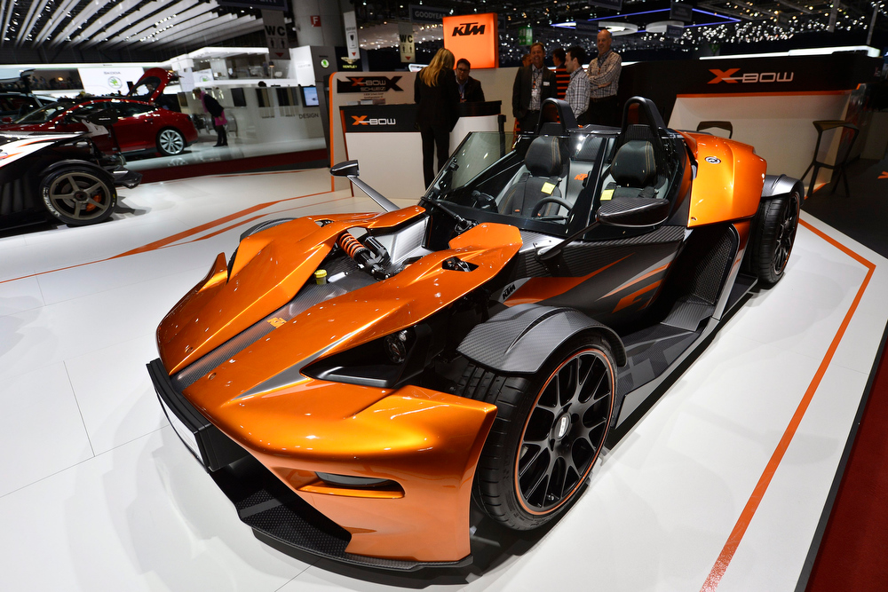 . The new KTM X-Bow GT is shown during the press day at the 83rd Geneva International Motor Show in Geneva, Switzerland, Wednesday, March 6, 2013. The Motor Show will open its gates to the public from 7th to 17th March presenting more than 260 exhibitors and more than 130 world and European premieres. (AP Photo/Keystone, Martial Trezzini)