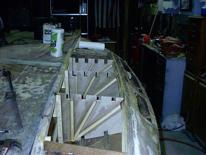 Spurce bridging glued to new sponson gussets.