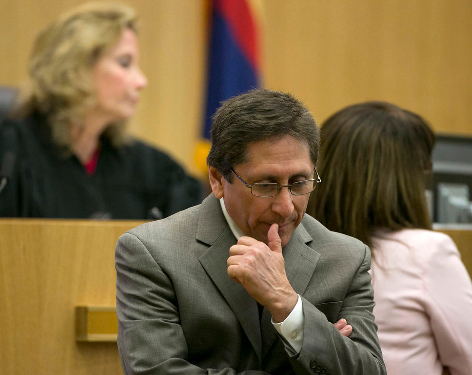 . Prosecutor Juan Martinez pauses during the Jodi Arias Trial at Maricopa County Superior Court in Phoenix  on Wednesday, April 10, 2013.  Arias is charged with murder in the death Travis Alexander.    (AP Photo/The Arizona Republic, Davids Wallace, Pool)