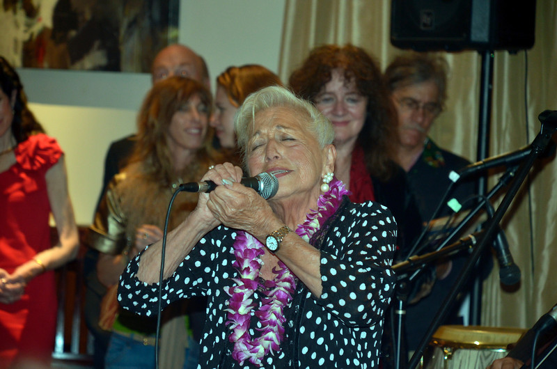 Pearl Clarke singing at opening night party for Freddy Clarke's Wobbly World and his mother Pearl's birthday, at Maestro's Restaurant (formerly STARS).