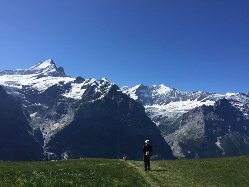 views of the Eiger and Monch mountains in Switzerland