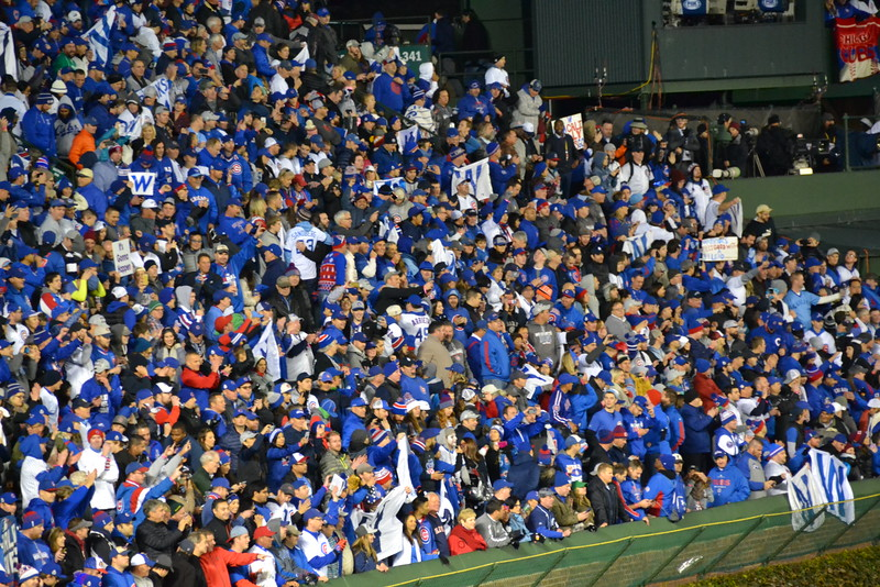 Wrigley Field goes nuts for the Cubs!  The first World Series victory at Wrigley Field since 1908.  The announced paid crowd totaled 41,177.
