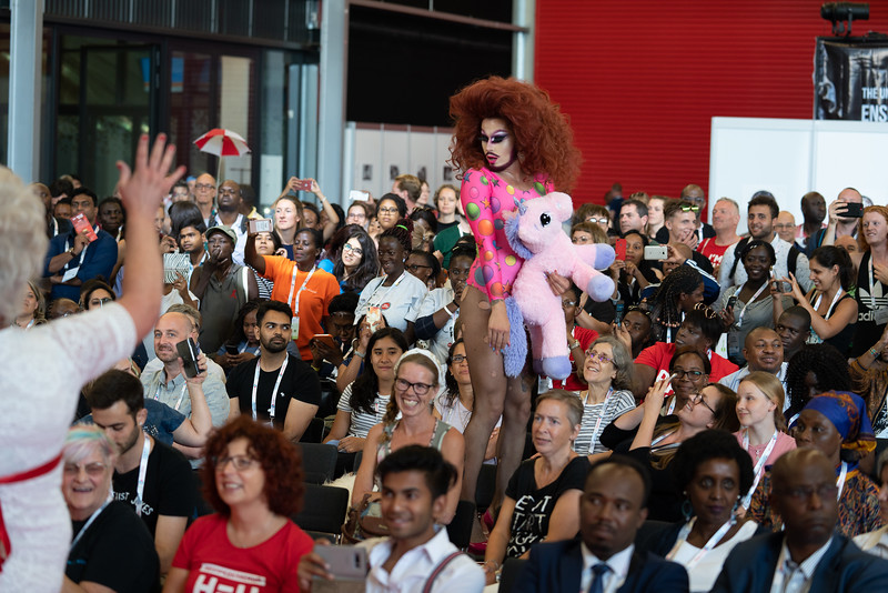 22nd International AIDS Conference (AIDS 2018) Amsterdam, Netherlands.   Copyright: Matthijs Immink/IAS  Global Village Opening  Photo shows: