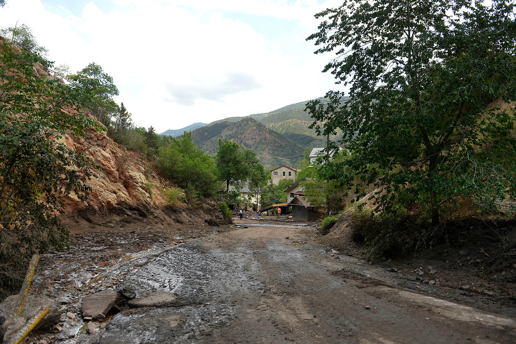 . Manitou Springs, CO. - July 02: The high water marks shou the width and depth of a flash flood that washed through houses, streets and businesses after a downpour over the Waldo Canyon burn scar in El Paso County July 02, 2013 Manitou Springs, Colorado. (Photo By Joe Amon/The Denver Post)