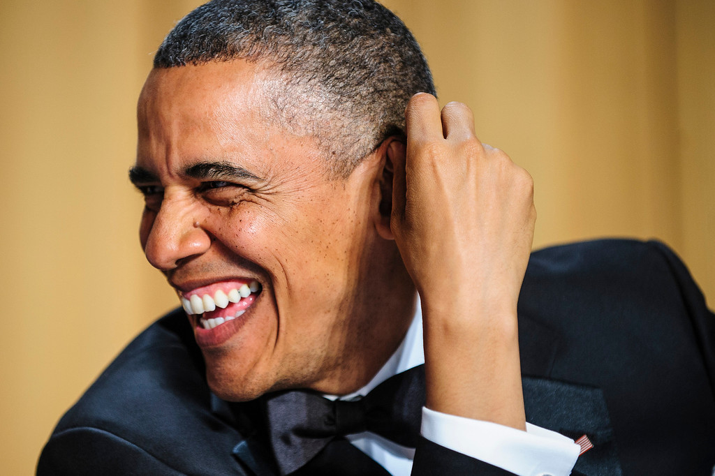 . WASHINGTON, DC - APRIL 27:  President Barack Obama jokes around before the start of the White House Correspondents\' Association Dinner on April 27, 2013 in Washington, DC. The dinner is an annual event attended by journalists, politicians and celebrities. (Photo by Pete Marovich-Pool/Getty Images)