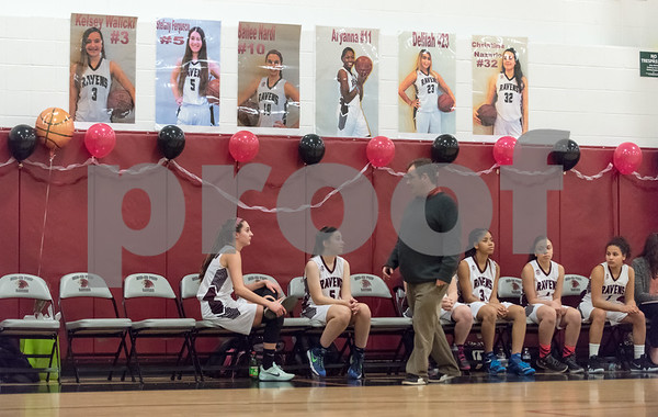 02/06/18 Wesley Bunnell | Staff Innovation girls basketball fell 25-16 to Achievement First on Tuesday night on Senior Night. Bailee Nardi (10) sits on the bench with Stefany Ferguson (5) late in the game.