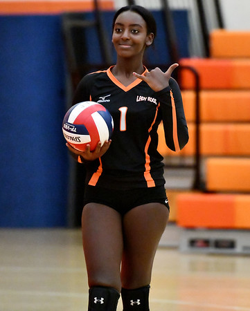 10/18/2019 Mike Orazzi | Staff Terryville's Eva Ieronimo (1) during Friday night's girls volleyball match with Goodwin Tech in Terryville.