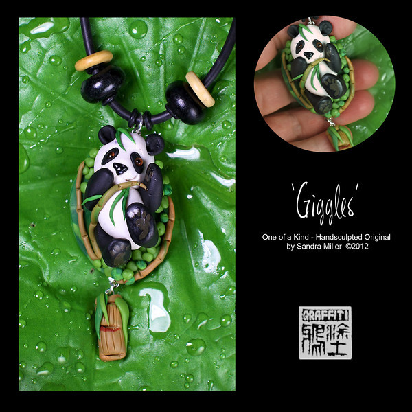 """GIGGLES THE PANDA NECKLACE  Little GIGGLES loves laying in her nest of bamboo and watching the clouds go by.  Yesterday she said she saw a moonbear doing somersaults in the sky!  Those little eyes of hers are amazing as they are genuine hand blown glass eyes from Germany.  You can see the incredible detail in those peepers and I followed through with the same attention to detail in every part of this handsculpted pendant  A fun element to create was the bamboo surrounding her and the charm below which swishes with every move of your body.  Wood and bone beads I purchased in Africa accent the necklace.    She is one BEARY special design, sure to make people PAWS to give yoiu compliments wherever you go  PENDANT MEASURES  2 1/4  x 1 1/2""""  without  dangle Neoprene cord  is adjustable from 16-20"""" long"""