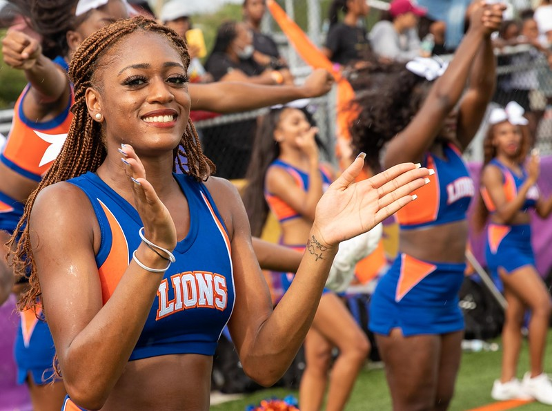 The Florida Memorial University cheerleaders made the trek from Miami Gardens for the inaugural football game at Jacksonville's Nathaniel Glover Community Field & Stadium on Saturday, Aug. 28, 2021. (Photo by Will Brown)