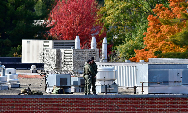 10/26/2018 Mike Orazzi | Staff Rooftop security in place for former Vice President Joe Biden's visit to campaign for fellow democrats in Hartford on Friday.