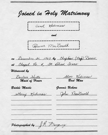 Carol & Russ Wedding Album, Dec 30, 1967