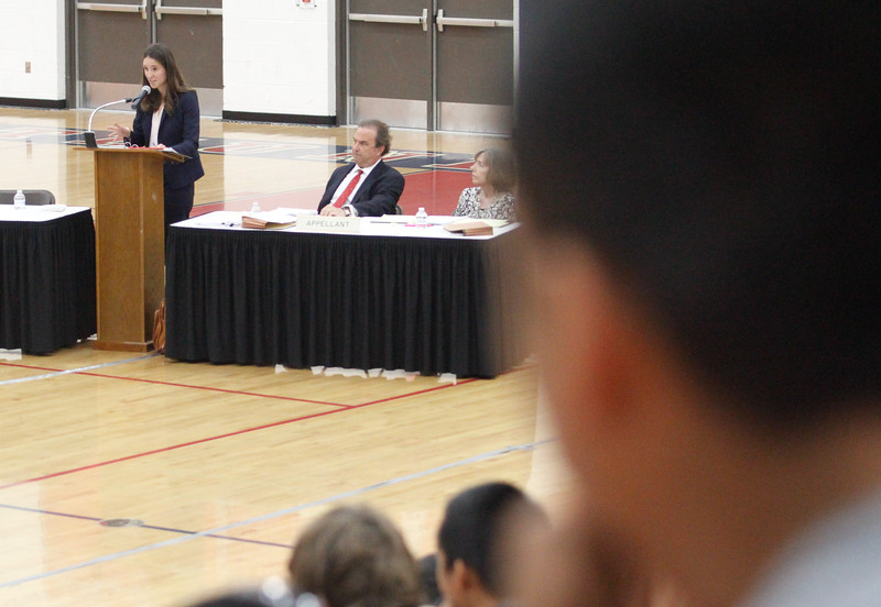 The Third Appellate Court of California reviews two cases Wednesday, April 25, 2018, in Oroville, California. The court heard oral arguments from lawyers at Las Plumas High School as part of  (Dan Reidel -- Enterprise-Record)