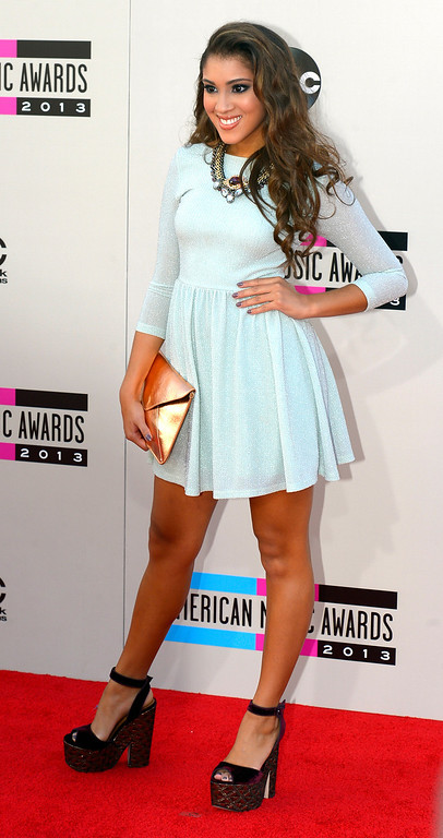 . Singer Taylor Bright arrives to the American Music Awards  at the Nokia Theatre in Los Angeles, California on Sunday November 24, 2013 (Photo by Andy Holzman / Los Angeles Daily News)