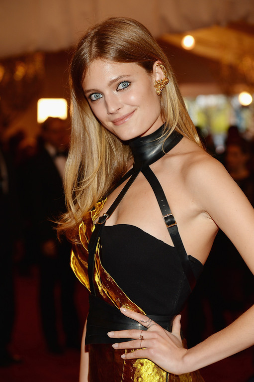 """. Constance Jablonski attends the Costume Institute Gala for the \""""PUNK: Chaos to Couture\"""" exhibition at the Metropolitan Museum of Art on May 6, 2013 in New York City.  (Photo by Dimitrios Kambouris/Getty Images)"""