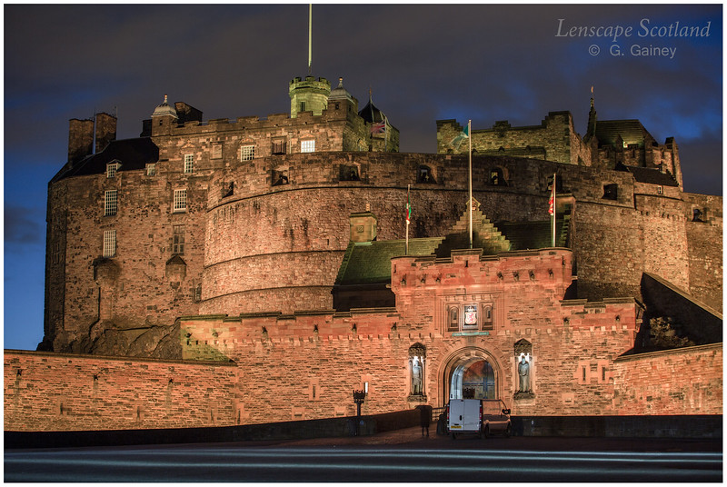 Edinburgh Castle at dusk, from the Esplanade