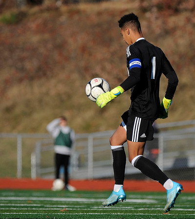 11/15/2019 Mike Orazzi | Staff Bristol Eastern's Nathan DiLoreto (1) during the Class L Quarterfinal State Boys Soccer Tournament at Eastern on Friday.