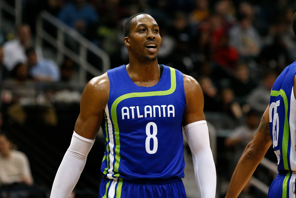 . Atlanta Hawks center Dwight Howard (8) in action against the Cleveland Cavaliers in the second half of an NBA basketball game, Friday, March 3, 2017, in Atlanta.The Cavaliers won 135-130. (AP Photo/Brett Davis)