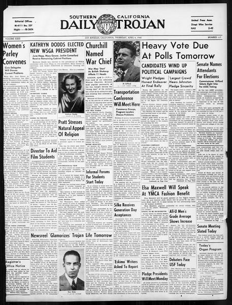 Daily Trojan, Vol. 31, No. 117, April 04, 1940