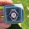 2.27ct (est) Art Deco Old European Cut Diamond with Amethyst Halo Ring 31