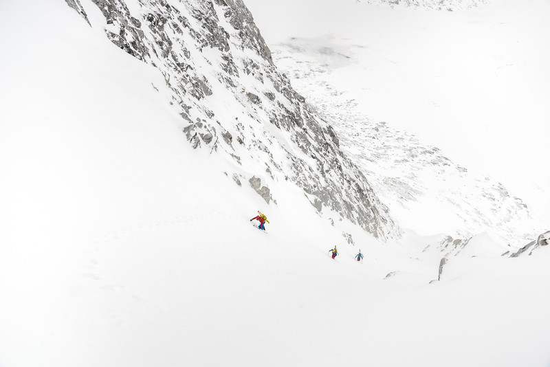 Climbing and first descent of a north couloir, East Greenland