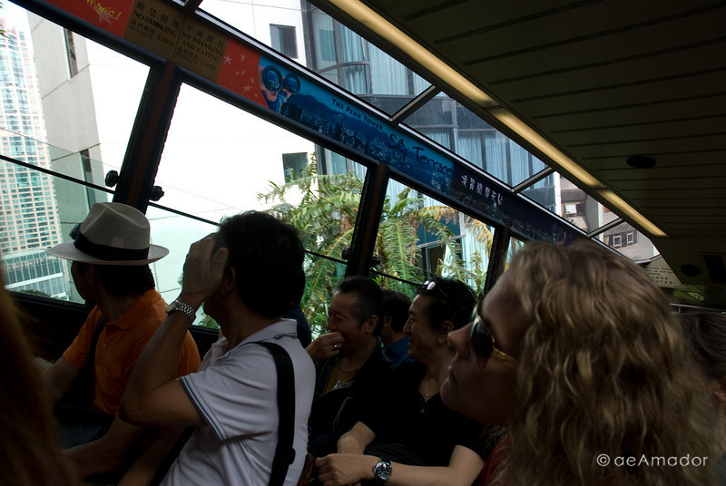 aeamador©-HK08_DSC0125. Hong Kong, going up to Victoria Peak via tram. You can see how steep the ride can be.