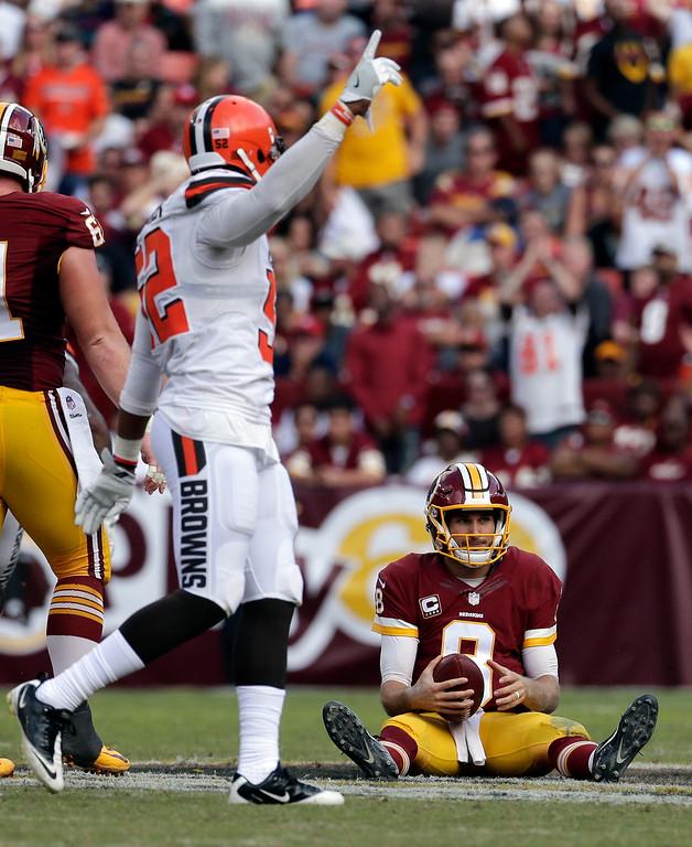 . Cleveland Browns linebacker Corey Lemonier (52) reacts after a sack of Washington Redskins quarterback Kirk Cousins (8)  during the second half of an NFL football game Sunday, Oct. 2, 2016, in Landover, Md. (AP Photo/Chuck Burton)