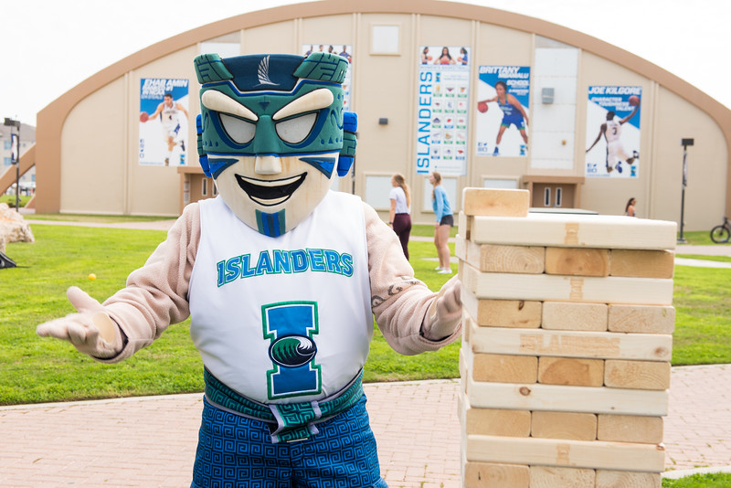 IZZY the Islander during the 2018 Inauguration President's Picnic. Friday March 2, 2018 at Texas A&M University-Corpus Christi.