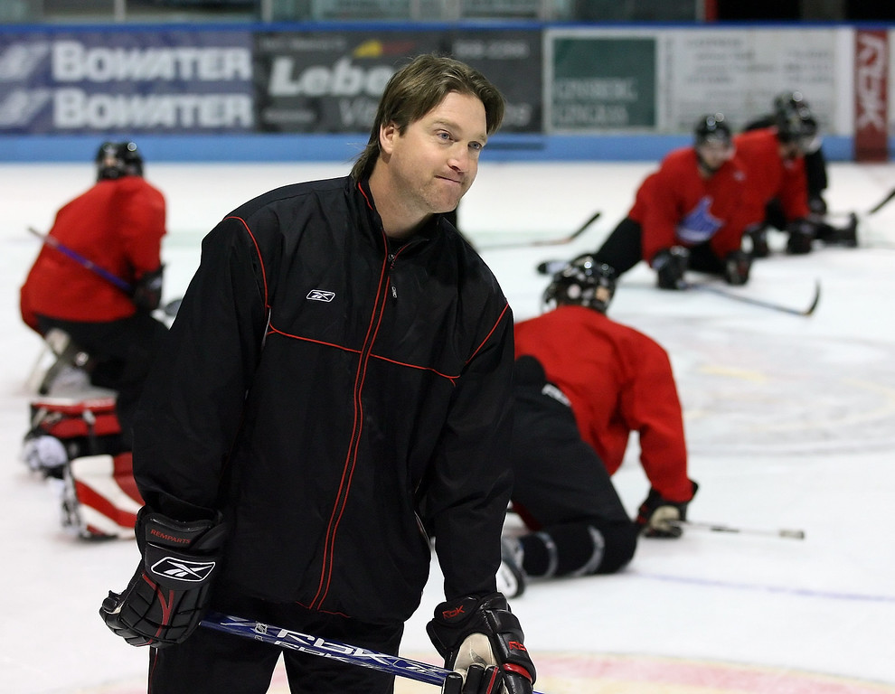 . Patrick Roy, General Manager and Head Coach, Quebec Remparts, as the players cool down, during their morning skate, at Robert Guertin Arena, on Wednesday, Nov 01, 2006. Roy was inducted into the Hockey Hall of Fame later that month.  (Jana Chytilova/Special to the Denver Post)