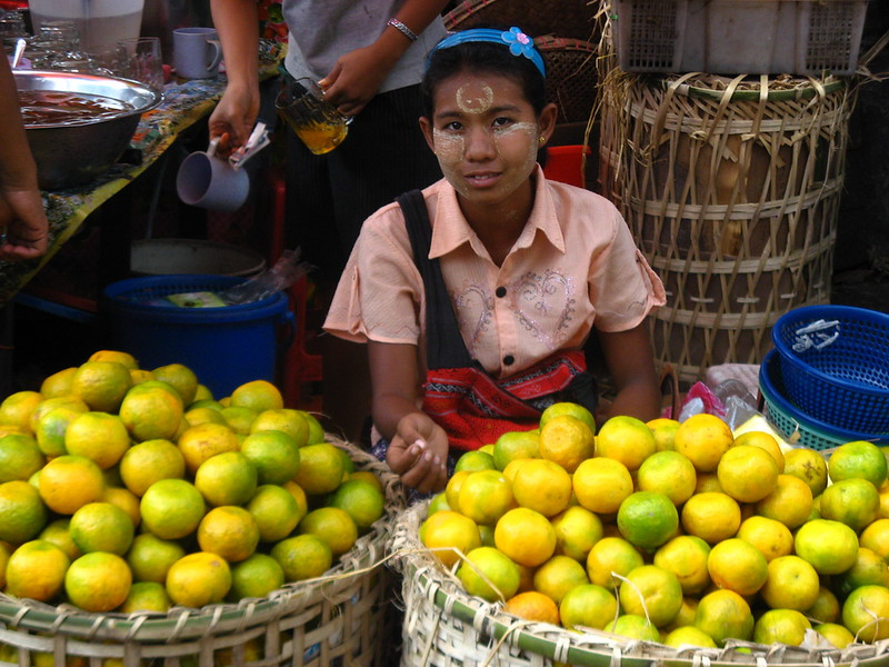 A vendor in central Yangon