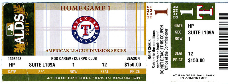 Rangers vs. Tampa Bay Rays, Game 1 ALDS.  TB 9, Texas 0.  (I went to the game the next night, and the Rangers won, 8-6!).