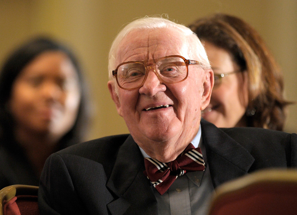 . FILE - In this Oct. 15, 2012, file photo, retired Supreme Court Justice John Paul Stevens waits to speak to area lawyers about gun laws, gun violence, and the Second Amendment at the Brady Center\'s Legal Action Project luncheon in Washington. Stevens is among those urging Congress to rein in spending on elections. The retired justice is expected to testify April 30 during a Senate hearing on campaign finance rules, which have been eased in recent court decisions that opened door for super PACs that can accept unlimited donations. (AP Photo/Susan Walsh, File)