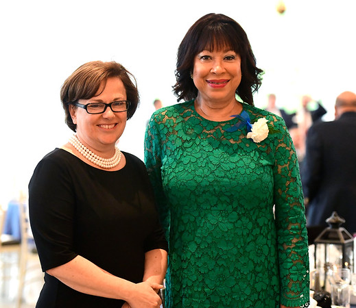 6/5/2019 Mike Orazzi | Staff Bristol Mayor Ellen Zoppo-Sassu and Mitzy Rowe, Chief Executive Officer of the Bristol Housing Authority during the 130th Annual Awards Dinner held at the Aqua Turf Club in Southington Wednesday evening.