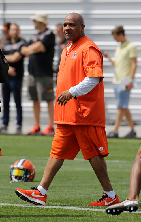 . Cleveland Browns head coach Hue Jackson watches during practice at the NFL football team\'s training camp facility, Thursday, July 27, 2017, in Berea, Ohio. (AP Photo/Tony Dejak)
