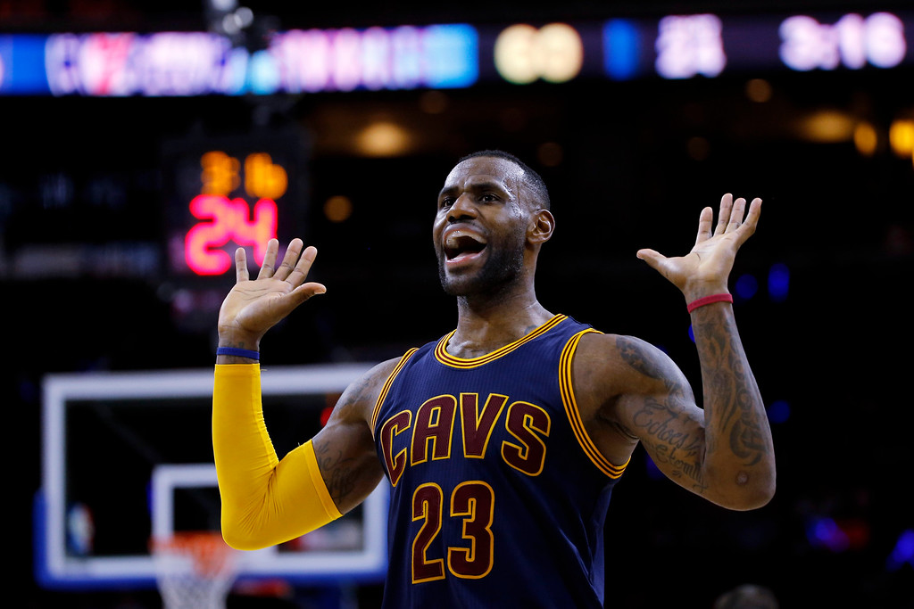. Cleveland Cavaliers\' LeBron James celebrates after a basket during the second half of an NBA basketball game against the Philadelphia 76ers, Sunday, Jan. 10, 2016, in Philadelphia. Cleveland won 95-85. (AP Photo/Matt Slocum)