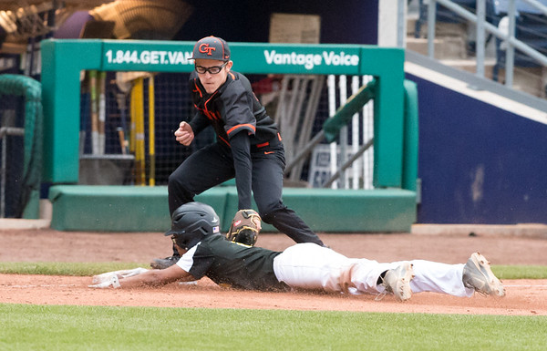 05/01/19 Wesley Bunnell | Staff Goodwin Tech baseball was defeated by Prince Tech on Wednesday evening at Dunkin Donuts Park in Hartford. Kenneth Hemenway (6) applies the tag but the runner was ruled safe.