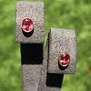 .79ctw Oval Padparadscha Sapphire Bezel Stud Earrings 8