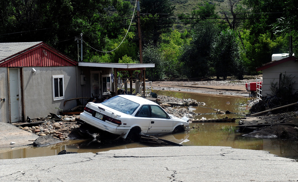. Flood damage along Colo. Highway 36 just outside Lyons Friday, Sept. 13, 2013. (Greg Lindstrom/Times-Call)
